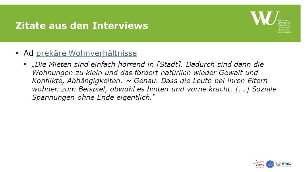 """Zitate aus den Interviews  Ad prekäre Wohnverhältnisseprekäre Wohnverhältnisse  """"Die Mieten sind einfach horrend in [Stadt]."""