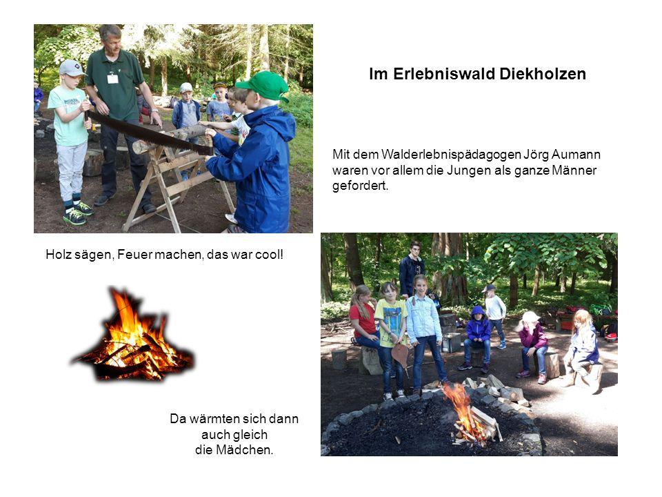 Holz sägen, Feuer machen, das war cool! Mit dem Walderlebnispädagogen Jörg Aumann waren vor allem die Jungen als ganze Männer gefordert. Da wärmten si