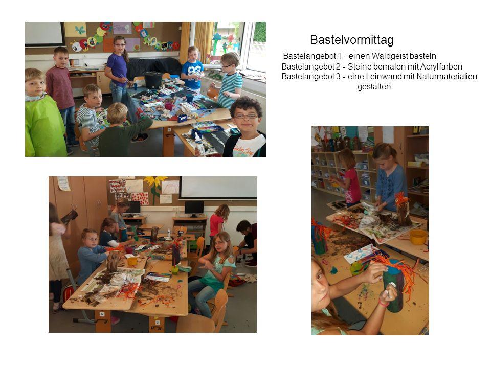 Bastelvormittag Bastelangebot 1 - einen Waldgeist basteln Bastelangebot 2 - Steine bemalen mit Acrylfarben Bastelangebot 3 - eine Leinwand mit Naturma