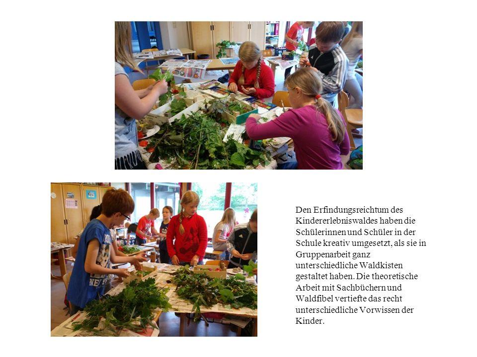Den Erfindungsreichtum des Kindererlebniswaldes haben die Schülerinnen und Schüler in der Schule kreativ umgesetzt, als sie in Gruppenarbeit ganz unterschiedliche Waldkisten gestaltet haben.