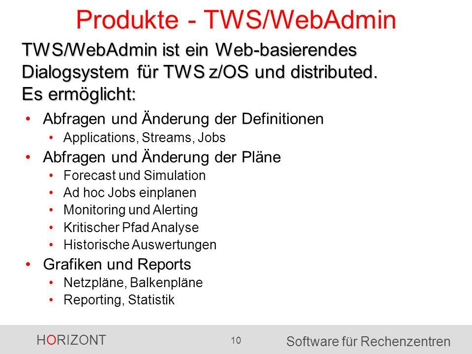 HORIZONT 10 Software für Rechenzentren Produkte - TWS/WebAdmin Abfragen und Änderung der Definitionen Applications, Streams, Jobs Abfragen und Änderun