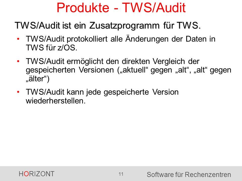 HORIZONT 11 Software für Rechenzentren Produkte - TWS/Audit TWS/Audit protokolliert alle Änderungen der Daten in TWS für z/OS. TWS/Audit ermöglicht de