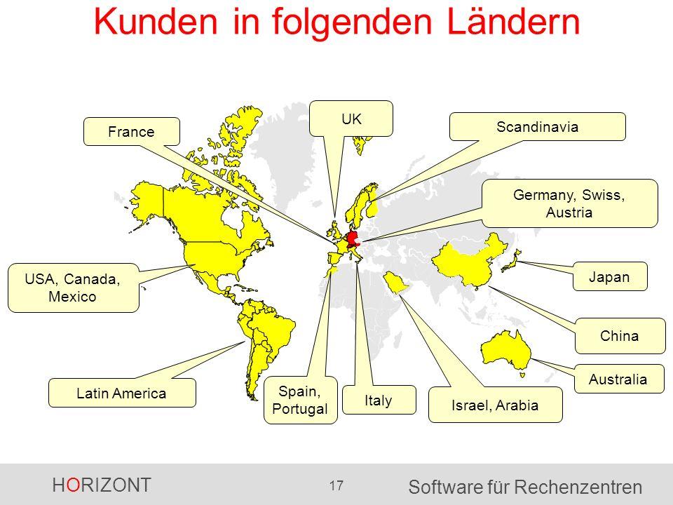 HORIZONT 17 Software für Rechenzentren Kunden in folgenden Ländern