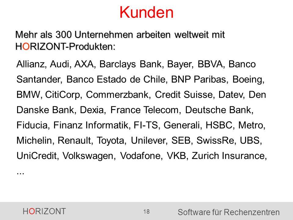 HORIZONT 18 Software für Rechenzentren Kunden Mehr als 300 Unternehmen arbeiten weltweit mit HORIZONT-Produkten: Allianz, Audi, AXA, Barclays Bank, Ba