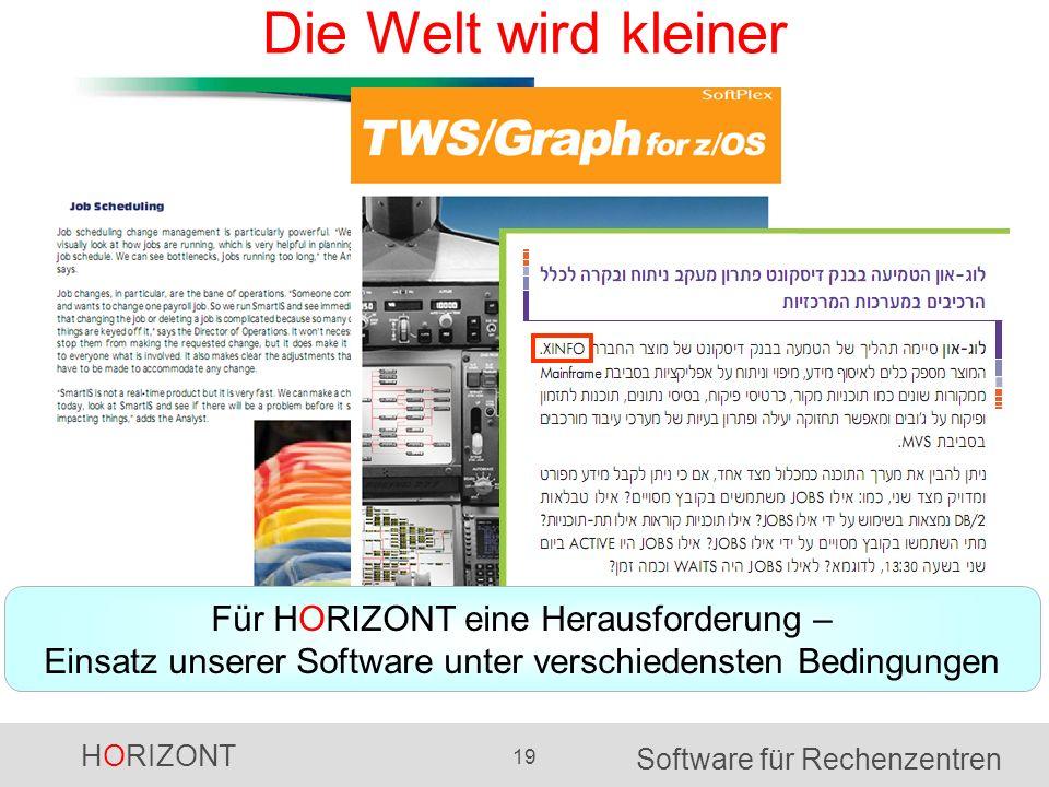 HORIZONT 19 Software für Rechenzentren Die Welt wird kleiner Für HORIZONT eine Herausforderung – Einsatz unserer Software unter verschiedensten Beding