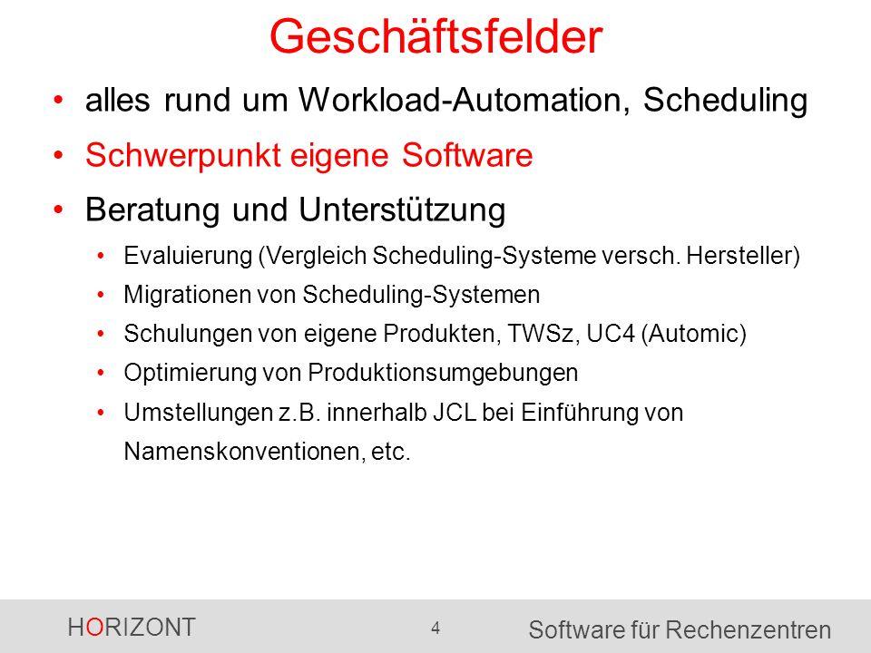 HORIZONT 4 Software für Rechenzentren Geschäftsfelder alles rund um Workload-Automation, Scheduling Schwerpunkt eigene Software Beratung und Unterstützung Evaluierung (Vergleich Scheduling-Systeme versch.