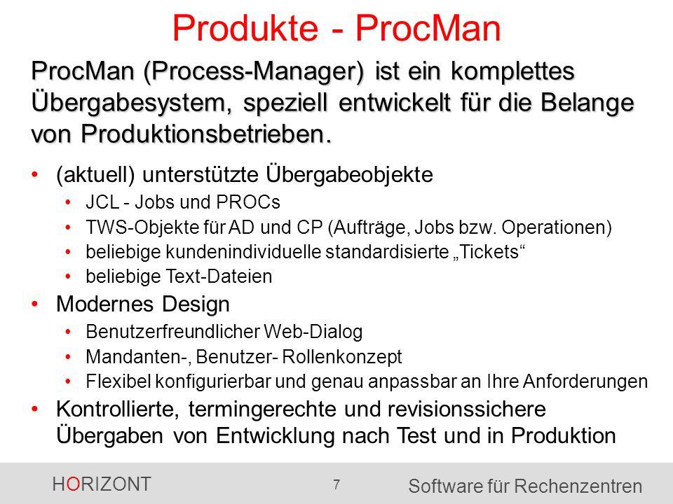 HORIZONT 7 Software für Rechenzentren Produkte - ProcMan (aktuell) unterstützte Übergabeobjekte JCL - Jobs und PROCs TWS-Objekte für AD und CP (Aufträ