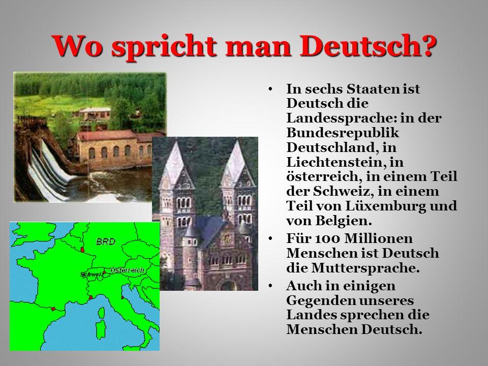 Wo spricht man Deutsch.