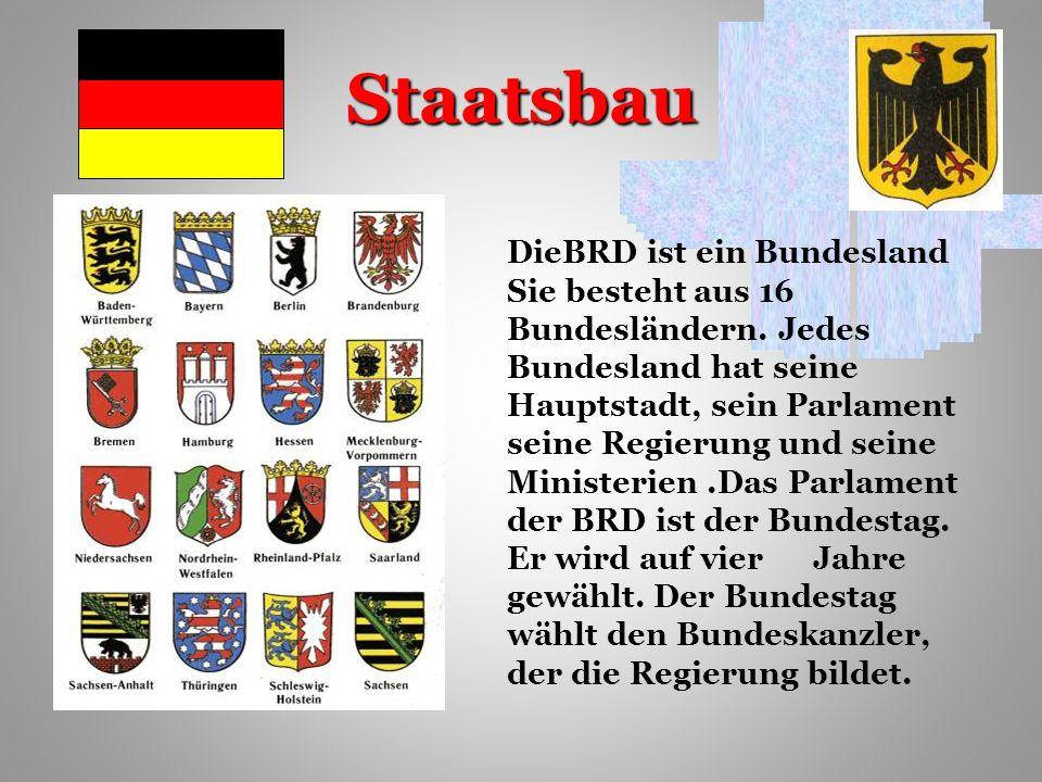 Staatsbau DieBRD ist ein Bundesland Sie besteht aus 16 Bundesländern.
