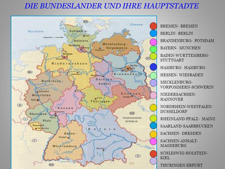 1.BREMEN- BREMEN 2.BERLIN- BERLIN 3.BRANDENBURG- POTSDAM 4.BAYERN- MUNCHEN 5.BADEN-WURTTEMBERG- STUTTGART 6.HAMBURG- HAMBURG 7.HESSEN- WIESBADEN 8.MECKLENBURG- VORPOMMERN-SCHWERIN 9.NIEDERSACHSEN- HANNOVER 10.NORDRHEIN-WESTFALEN- DUSSELDORF 11.RHEINLAND-PFALZ- MAINZ 12.SAARLAND-SAARBRUCKEN 13.SACHSEN- DRESDEN 14.SACHSEN-ANHALT- MAGDEBURG 15.SCHLESWIG-HOLSTEIN- KIEL 16.THURINGEN-ERFURT DIE BUNDESLANDER UND IHRE HAUPTSTADTE