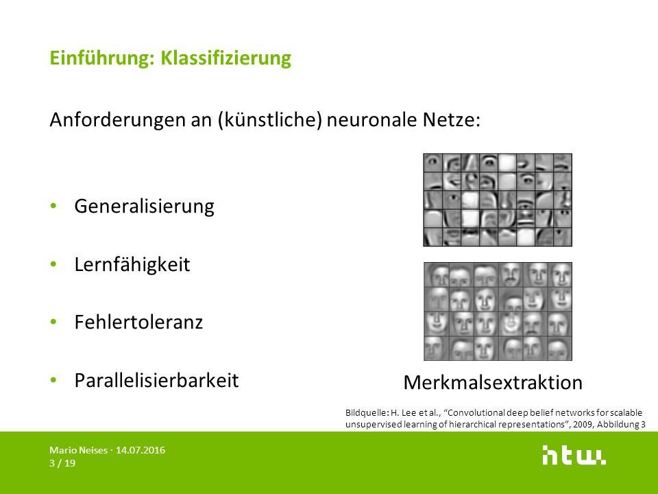 Einführung: Klassifizierung Anforderungen an (künstliche) neuronale Netze: Generalisierung Lernfähigkeit Fehlertoleranz Parallelisierbarkeit Mario Nei