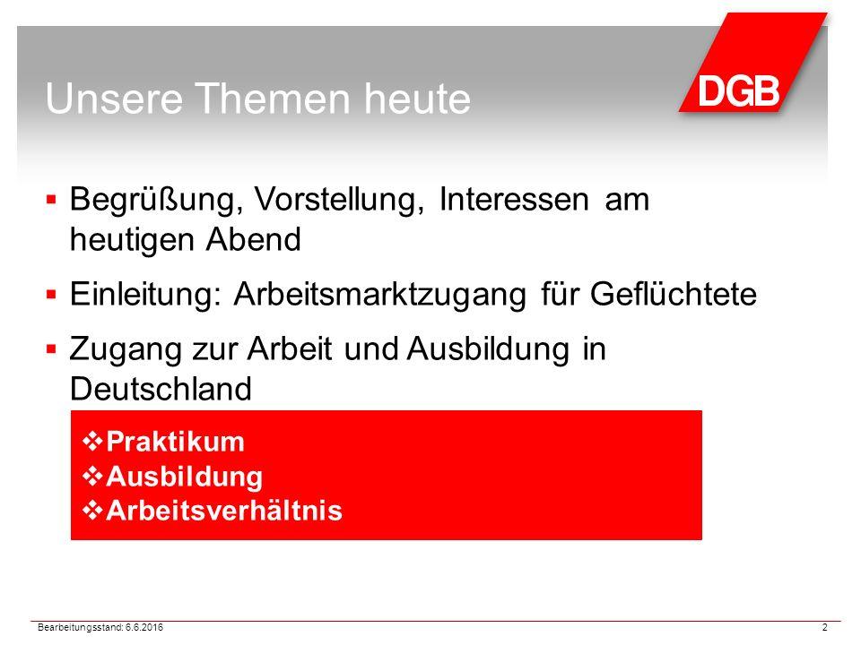 Unsere Themen heute  Begrüßung, Vorstellung, Interessen am heutigen Abend  Einleitung: Arbeitsmarktzugang für Geflüchtete  Zugang zur Arbeit und Ausbildung in Deutschland Bearbeitungsstand: 6.6.2016 2  Praktikum  Ausbildung  Arbeitsverhältnis