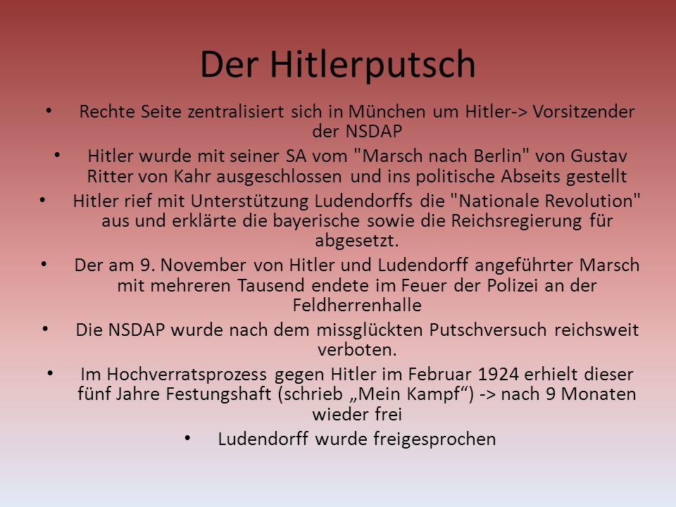 Der Hitlerputsch Rechte Seite zentralisiert sich in München um Hitler-> Vorsitzender der NSDAP Hitler wurde mit seiner SA vom Marsch nach Berlin von Gustav Ritter von Kahr ausgeschlossen und ins politische Abseits gestellt Hitler rief mit Unterstützung Ludendorffs die Nationale Revolution aus und erklärte die bayerische sowie die Reichsregierung für abgesetzt.