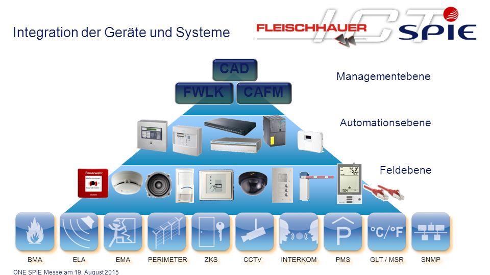 Automationsebene Managementebene CAD FWLKCAFM Feldebene Integration der Geräte und Systeme ONE SPIE Messe am 19.