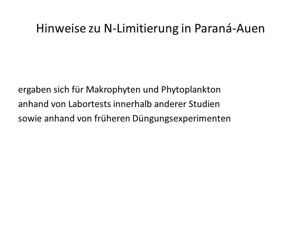 Hinweise zu N-Limitierung in Paraná-Auen ergaben sich für Makrophyten und Phytoplankton anhand von Labortests innerhalb anderer Studien sowie anhand von früheren Düngungsexperimenten