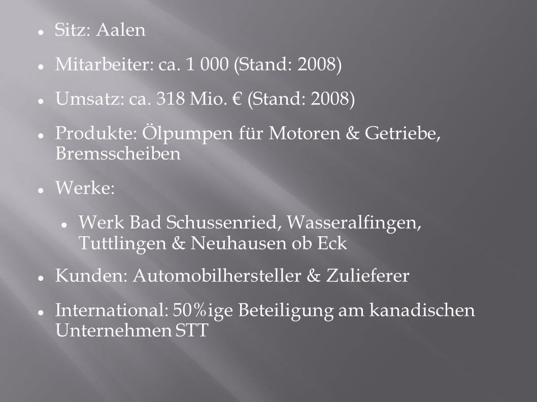 Sitz: Aalen Mitarbeiter: ca. 1 000 (Stand: 2008) Umsatz: ca.