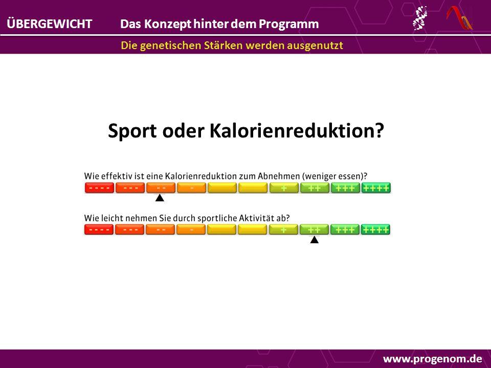 ÜBERGEWICHTDas Konzept hinter dem Programm Die genetischen Stärken werden ausgenutzt Sport oder Kalorienreduktion.