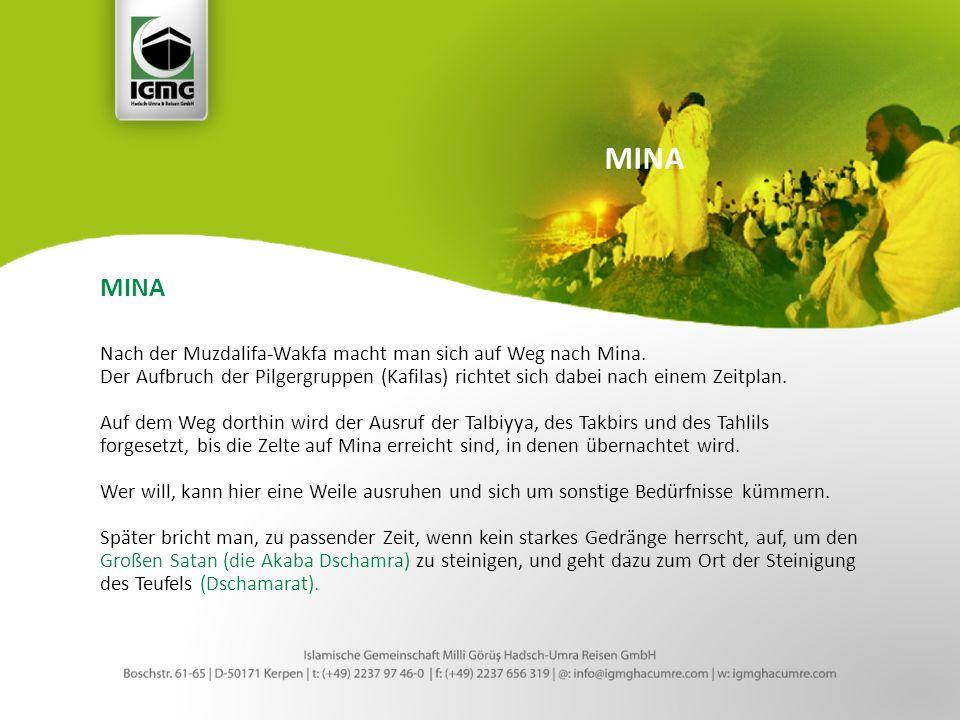 MINA Nach der Muzdalifa-Wakfa macht man sich auf Weg nach Mina.