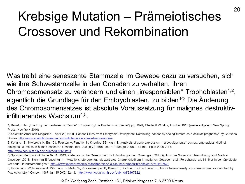 20 © Dr. Wolfgang Zöch, Postfach 181, Drinkweldergasse 7, A-3500 Krems Krebsige Mutation – Prämeiotisches Crossover und Rekombination Was treibt eine