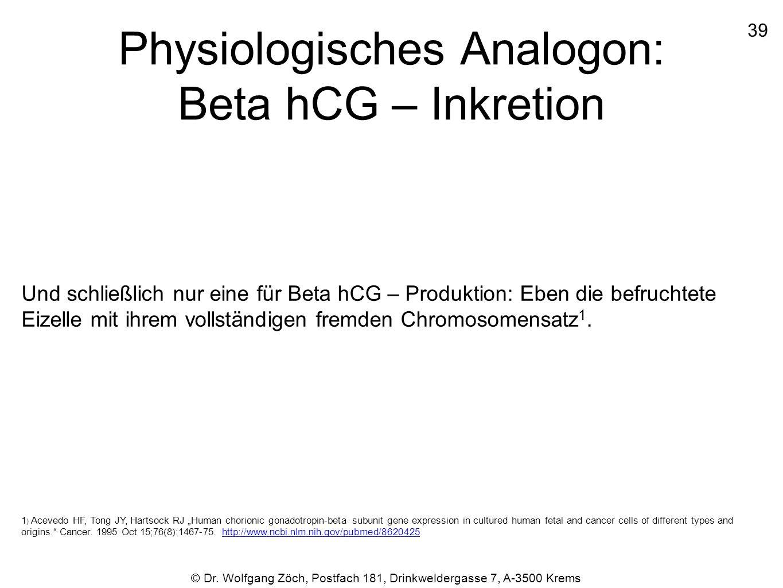 Physiologisches Analogon: Beta hCG – Inkretion Und schließlich nur eine für Beta hCG – Produktion: Eben die befruchtete Eizelle mit ihrem vollständige