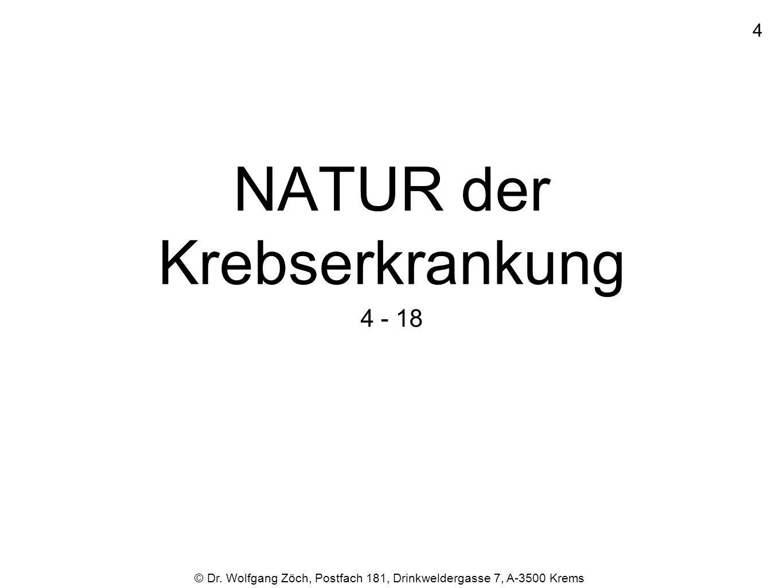 NATUR der Krebserkrankung 4 - 18 © Dr. Wolfgang Zöch, Postfach 181, Drinkweldergasse 7, A-3500 Krems 4