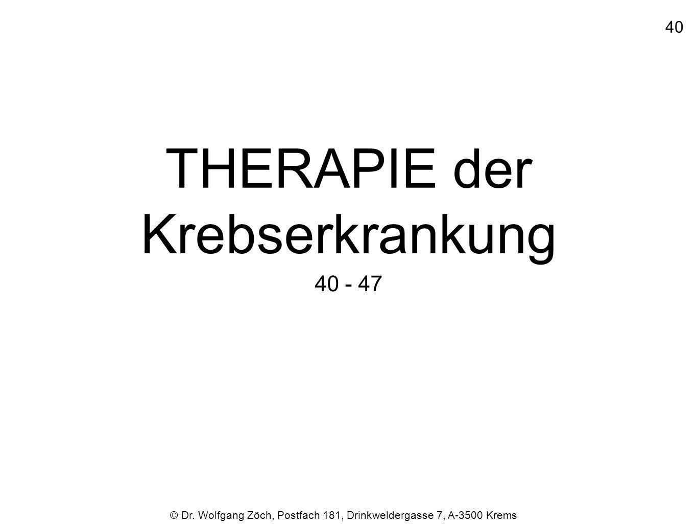 THERAPIE der Krebserkrankung 40 - 47 © Dr. Wolfgang Zöch, Postfach 181, Drinkweldergasse 7, A-3500 Krems 40