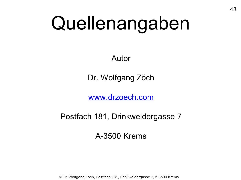 Quellenangaben Autor Dr. Wolfgang Zöch www.drzoech.com Postfach 181, Drinkweldergasse 7 A-3500 Krems 48 © Dr. Wolfgang Zöch, Postfach 181, Drinkwelder