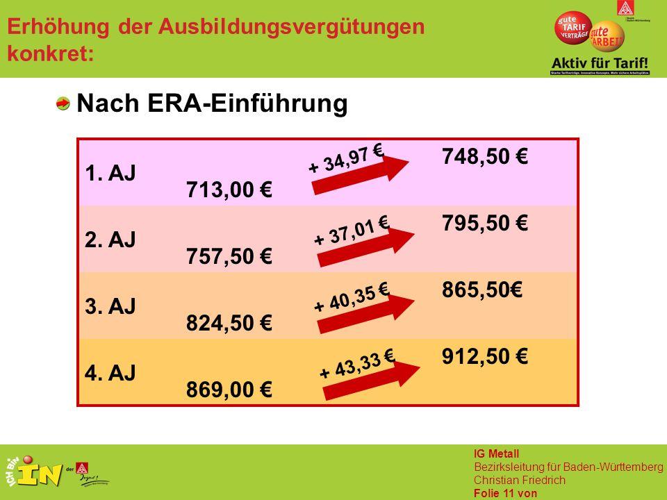IG Metall Bezirksleitung für Baden-Württemberg Christian Friedrich Folie 11 von Erhöhung der Ausbildungsvergütungen konkret: Nach ERA-Einführung 1. AJ