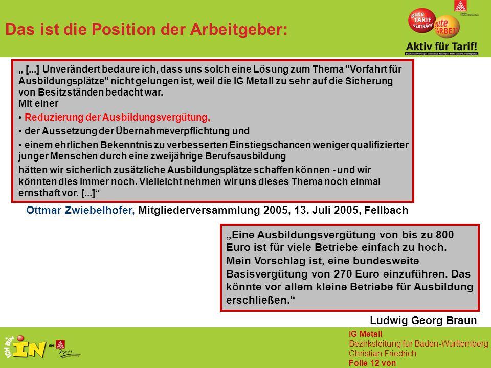 """IG Metall Bezirksleitung für Baden-Württemberg Christian Friedrich Folie 12 von Das ist die Position der Arbeitgeber: Ludwig Georg Braun """"Eine Ausbildungsvergütung von bis zu 800 Euro ist für viele Betriebe einfach zu hoch."""