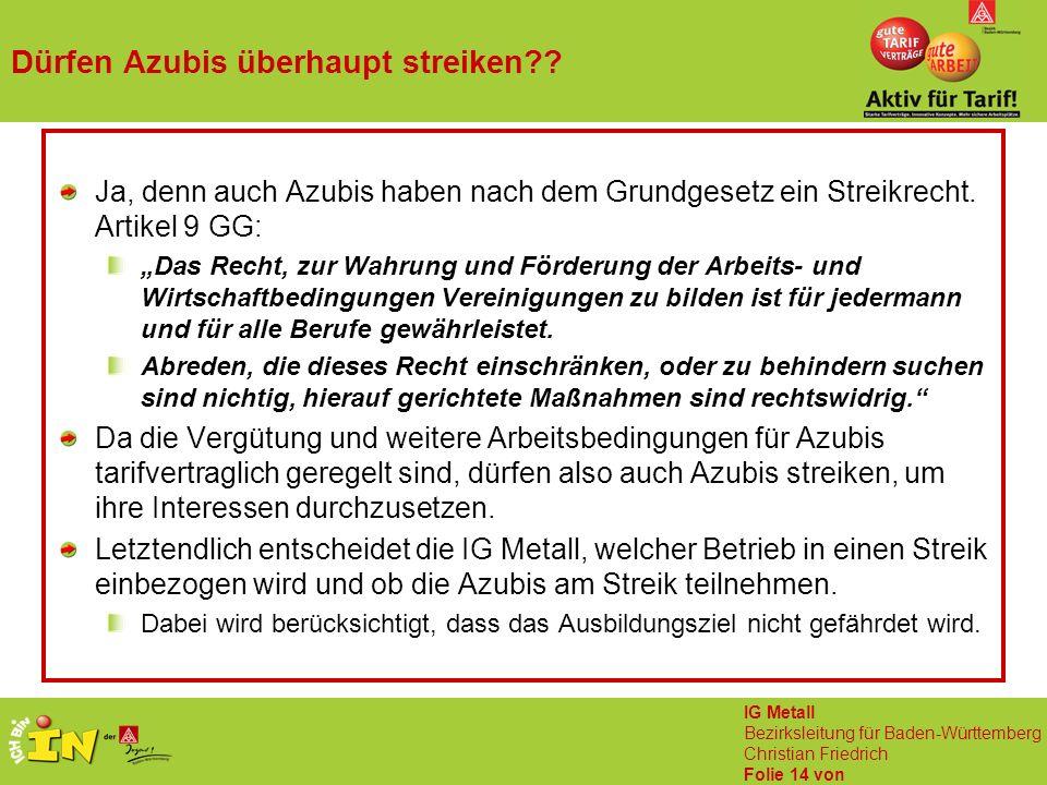 IG Metall Bezirksleitung für Baden-Württemberg Christian Friedrich Folie 14 von Dürfen Azubis überhaupt streiken?? Ja, denn auch Azubis haben nach dem