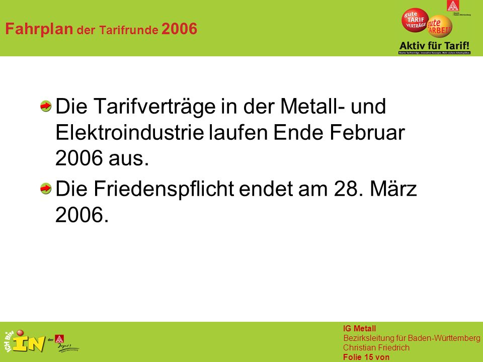 IG Metall Bezirksleitung für Baden-Württemberg Christian Friedrich Folie 15 von Fahrplan der Tarifrunde 2006 Die Tarifverträge in der Metall- und Elektroindustrie laufen Ende Februar 2006 aus.