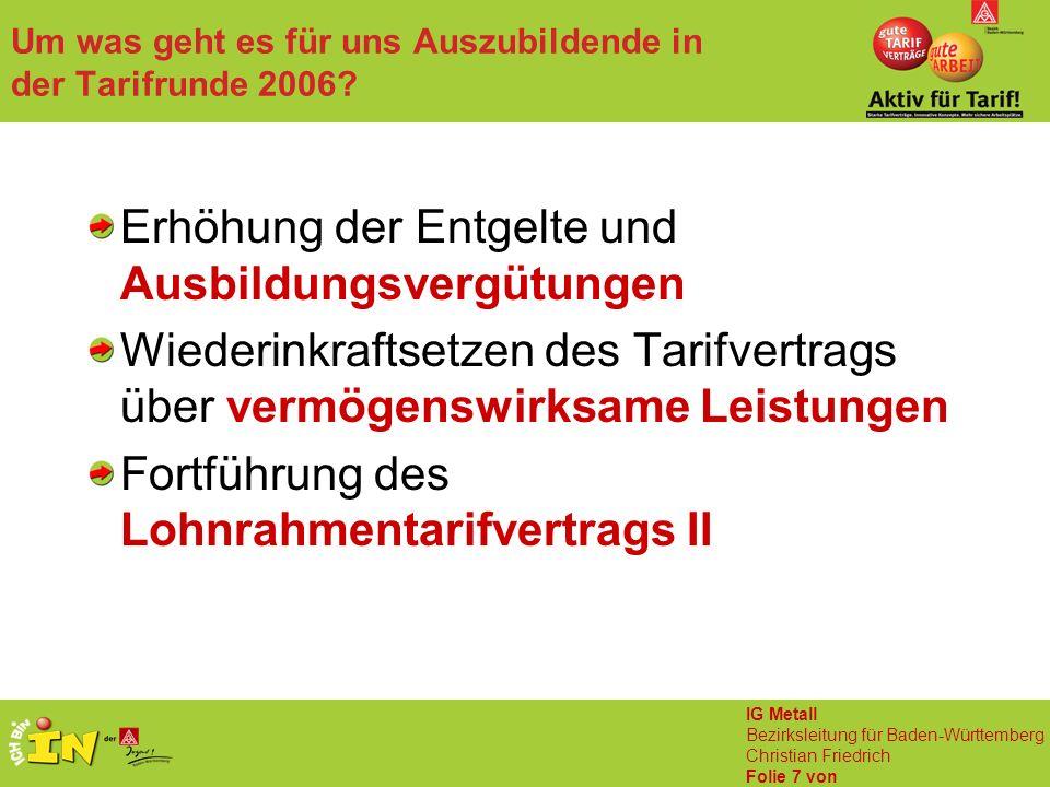 IG Metall Bezirksleitung für Baden-Württemberg Christian Friedrich Folie 7 von Um was geht es für uns Auszubildende in der Tarifrunde 2006? Erhöhung d