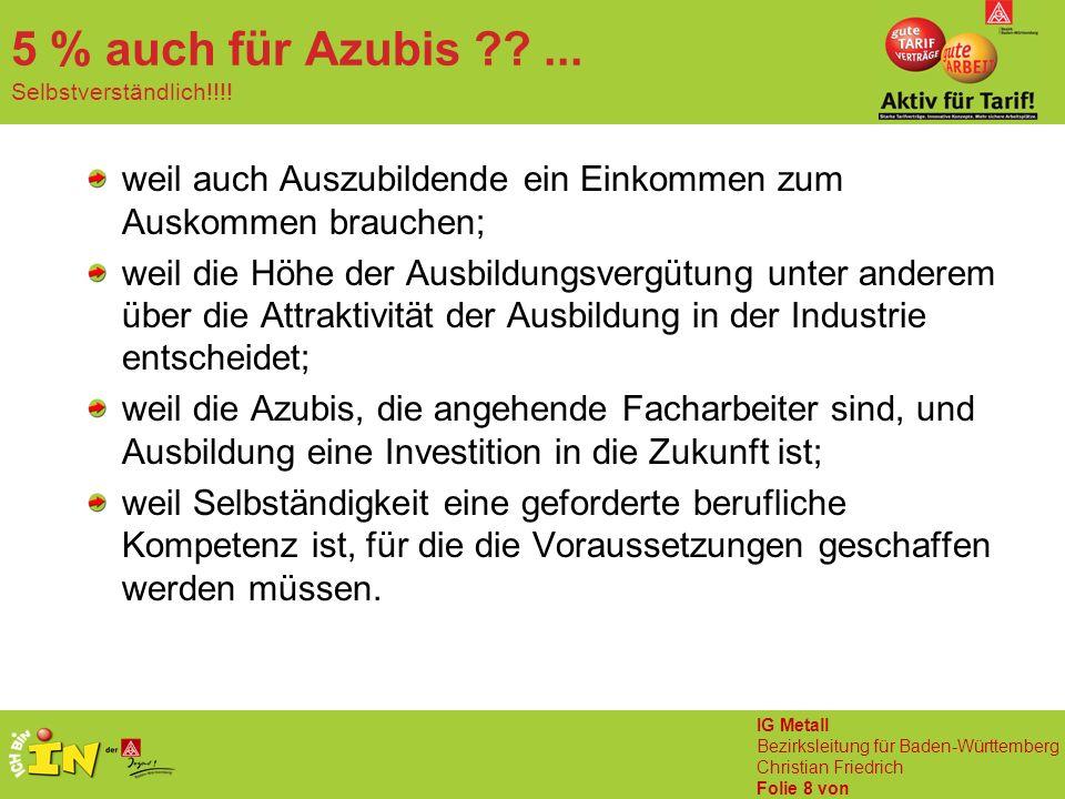 IG Metall Bezirksleitung für Baden-Württemberg Christian Friedrich Folie 8 von 5 % auch für Azubis ??... Selbstverständlich!!!! weil auch Auszubildend