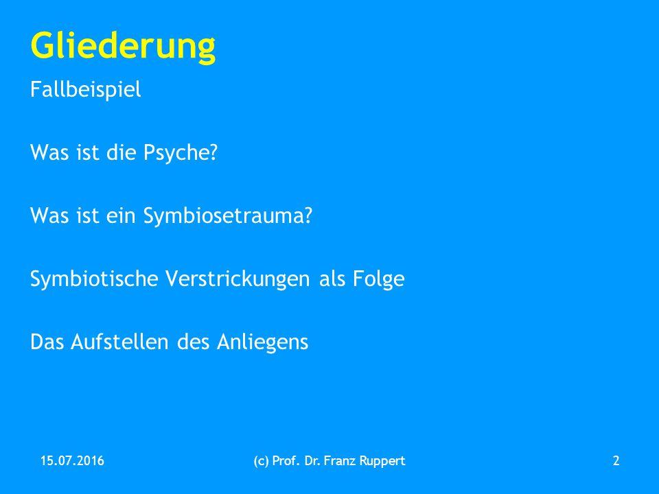 Gliederung Fallbeispiel Was ist die Psyche. Was ist ein Symbiosetrauma.