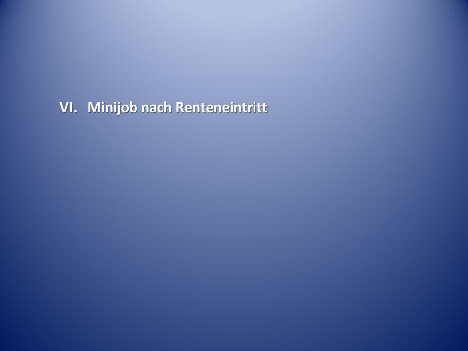 VI. Minijob nach Renteneintritt