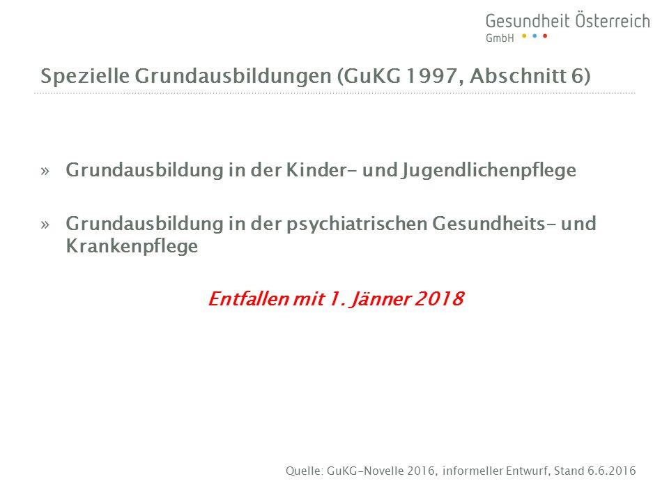 Spezielle Grundausbildungen (GuKG 1997, Abschnitt 6) »Grundausbildung in der Kinder- und Jugendlichenpflege »Grundausbildung in der psychiatrischen Gesundheits- und Krankenpflege Entfallen mit 1.