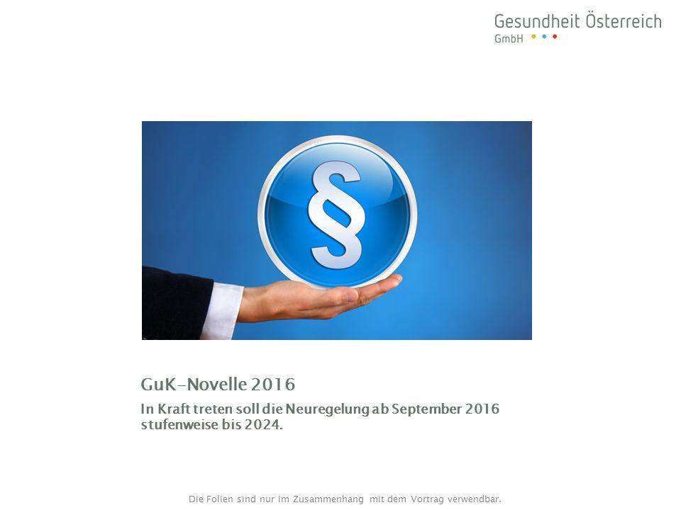 GuK-Novelle 2016 In Kraft treten soll die Neuregelung ab September 2016 stufenweise bis 2024.