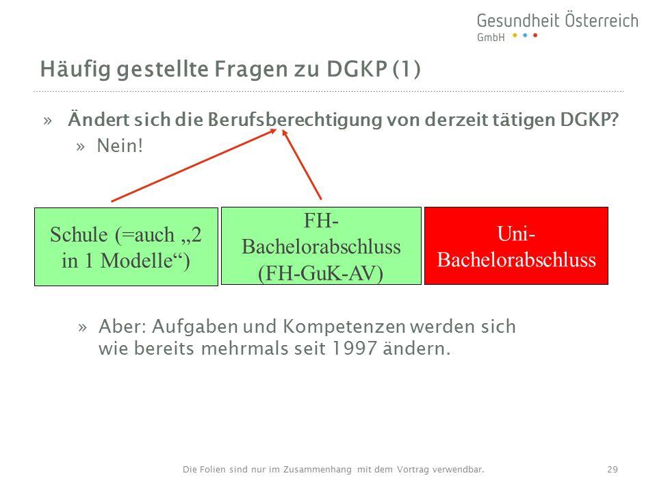 Häufig gestellte Fragen zu DGKP (1) »Ändert sich die Berufsberechtigung von derzeit tätigen DGKP.