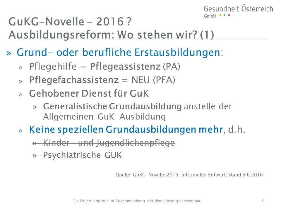 GuKG-Novelle – 2016 . Ausbildungsreform: Wo stehen wir.