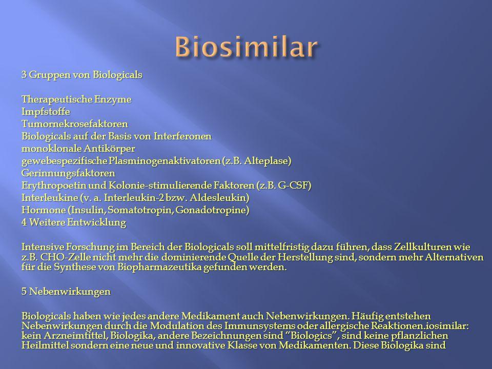 3 Gruppen von Biologicals Therapeutische Enzyme ImpfstoffeTumornekrosefaktoren Biologicals auf der Basis von Interferonen monoklonale Antikörper gewebespezifische Plasminogenaktivatoren (z.B.