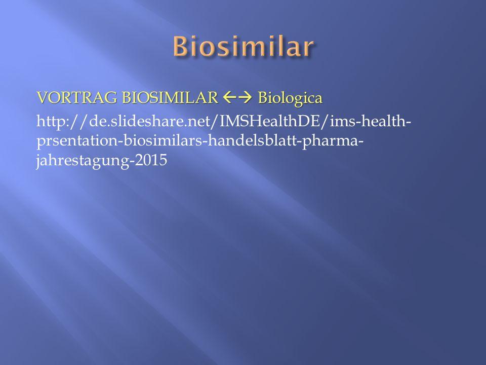 VORTRAG BIOSIMILAR  Biologica http://de.slideshare.net/IMSHealthDE/ims-health- prsentation-biosimilars-handelsblatt-pharma- jahrestagung-2015