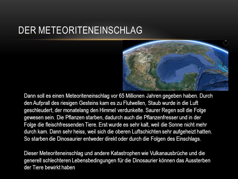 DER METEORITENEINSCHLAG Dann soll es einen Meteoriteneinschlag vor 65 Millionen Jahren gegeben haben. Durch den Aufprall des riesigen Gesteins kam es