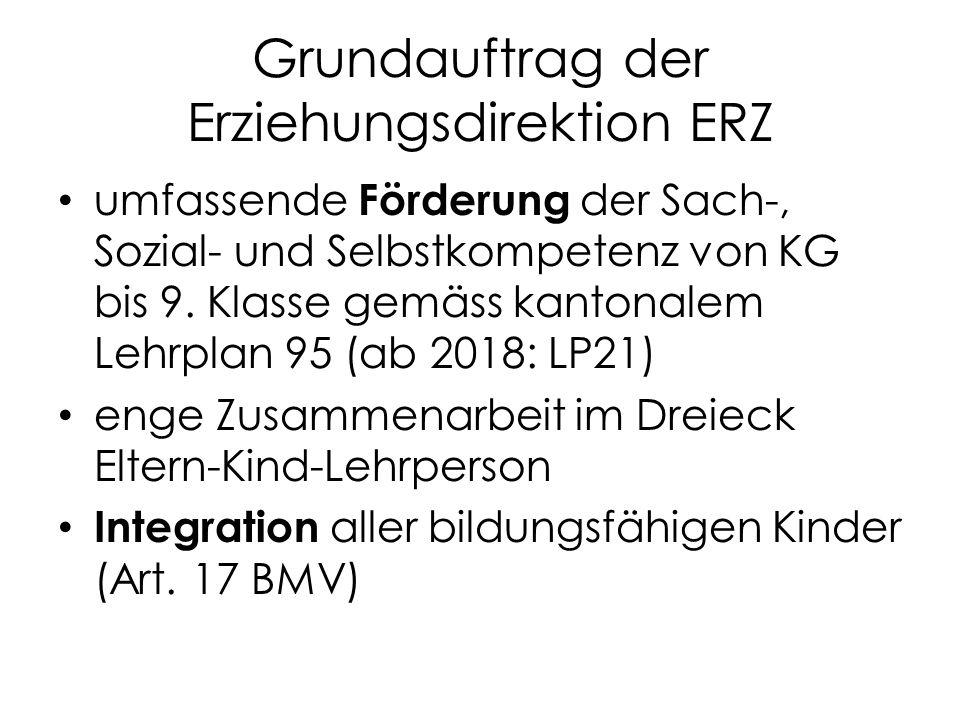 Grundauftrag der Erziehungsdirektion ERZ umfassende Förderung der Sach-, Sozial- und Selbstkompetenz von KG bis 9.