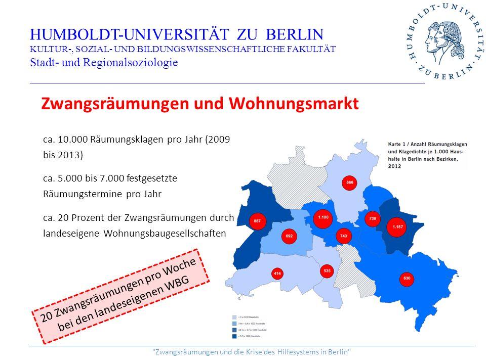 HUMBOLDT-UNIVERSITÄT ZU BERLIN KULTUR-, SOZIAL- UND BILDUNGSWISSENSCHAFTLICHE FAKULTÄT Stadt- und Regionalsoziologie _________________________________________________________________ ______________________________________________________________________________________________________________ Zwangsräumungen und die Krise des Hilfesystems in Berlin Zwangsräumungen und Wohnungsmarkt ca.