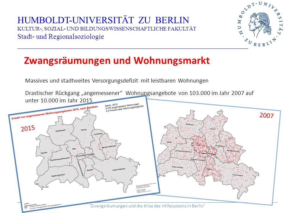 """Massives und stadtweites Versorgungsdefizit mit leistbaren Wohnungen Drastischer Rückgang """"angemessener Wohnungsangebote von 103.000 im Jahr 2007 auf unter 10.000 im Jahr 2015 HUMBOLDT-UNIVERSITÄT ZU BERLIN KULTUR-, SOZIAL- UND BILDUNGSWISSENSCHAFTLICHE FAKULTÄT Stadt- und Regionalsoziologie _________________________________________________________________ ______________________________________________________________________________________________________________ Zwangsräumungen und die Krise des Hilfesystems in Berlin Zwangsräumungen und Wohnungsmarkt 2007 2015"""