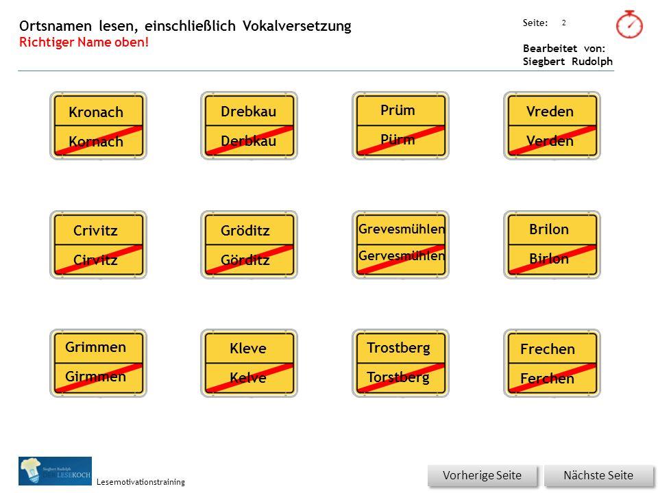 Übungsart: Seite: Bearbeitet von: Siegbert Rudolph Lesemotivationstraining 2 Ortsnamen lesen, einschließlich Vokalversetzung Richtiger Name oben.