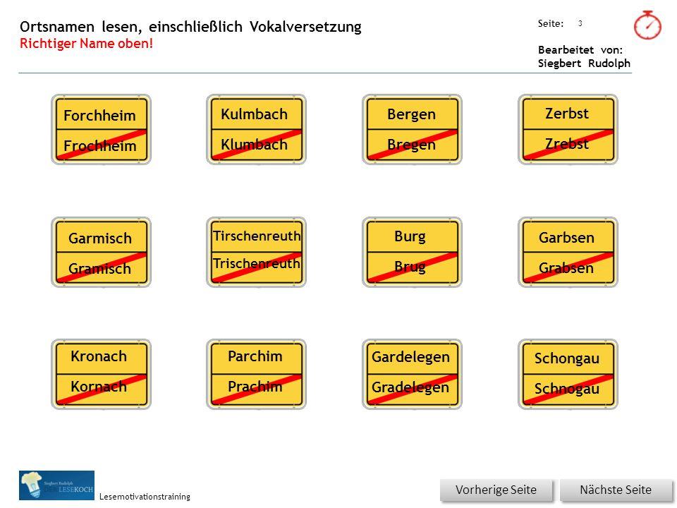 Übungsart: Seite: Bearbeitet von: Siegbert Rudolph Lesemotivationstraining 3 Ortsnamen lesen, einschließlich Vokalversetzung Richtiger Name oben.