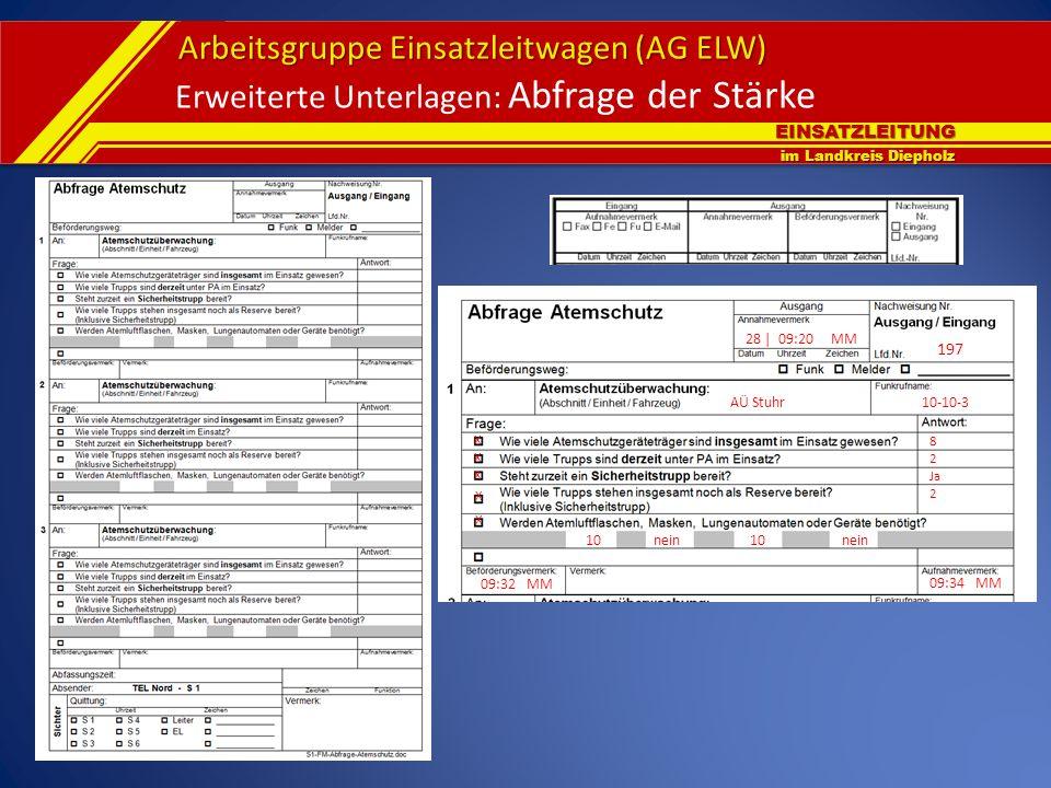 EINSATZLEITUNG im Landkreis Diepholz Arbeitsgruppe Einsatzleitwagen (AG ELW) Erweiterte Unterlagen: Abfrage der Stärke X AÜ Stuhr10-10-3 28 | 09:20 MM