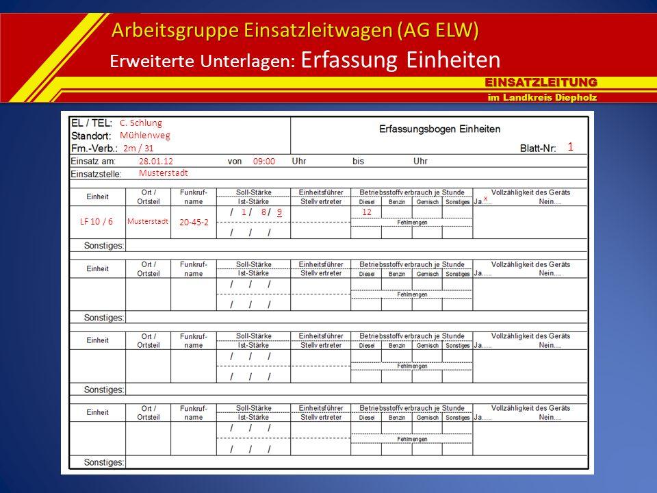 EINSATZLEITUNG im Landkreis Diepholz Arbeitsgruppe Einsatzleitwagen (AG ELW) Erweiterte Unterlagen: Erfassung Einheiten LF 10 / 6 Musterstadt 20-45-2