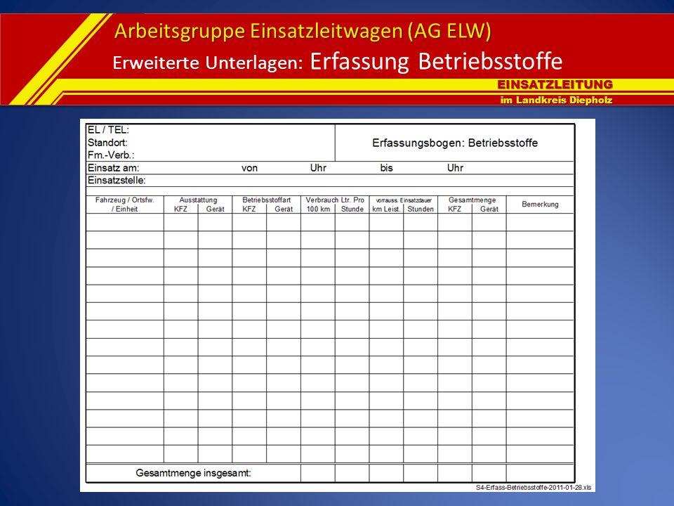 EINSATZLEITUNG im Landkreis Diepholz Arbeitsgruppe Einsatzleitwagen (AG ELW) Erweiterte Unterlagen: Erfassung Betriebsstoffe